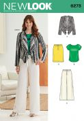 6273 New Look Pattern: Misses' Jacket, Top, Trousers and Skirt